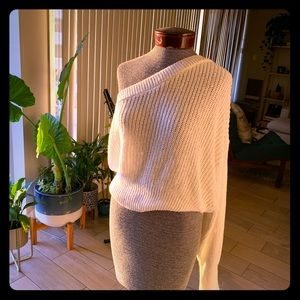 NWOT ZARA white knit one-shoulder sweater